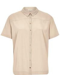Beige lightweight short sleeve shirt medium 205933