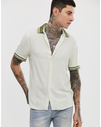 ASOS DESIGN Oversized Viscose Shirt In Ecru With Khaki Rib Detail