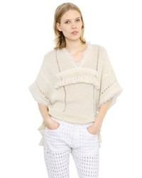 Isabel marant fringed short sleeve cotton sweater medium 440377