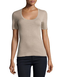 Michael Kors Michl Kors Collection Short Sleeve Cashmere Top Bison