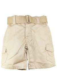 American Heritage Toddler 2t 7 Boys Beige Solid Belted Twill Cargo Shorts