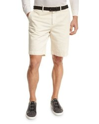 Ermenegildo Zegna Cotton Linen Chino Shorts Light Beige