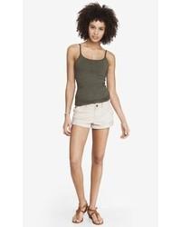 Express Khaki Cuffed Stretch Cotton Shorts