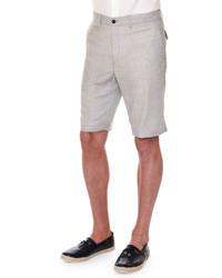 Stefano Ricci Flat Front Cashmere Shorts Beige