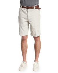 Brunello Cucinelli Flat Front Cotton Shorts Marble