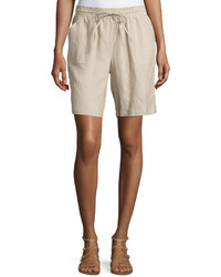 Neiman Marcus Linen Drawstring Shorts Harvest Brown