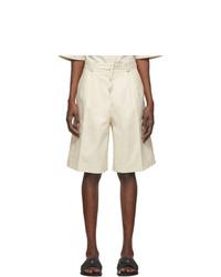 Jil Sander Off White Pleated Shorts