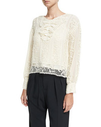 RED Valentino Redvalentino Long Sleeve Crocheted Ribbon Silk Georgette Blouse