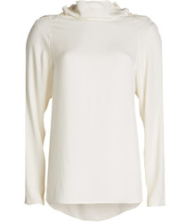 Theory Silk Blouse With High Neckline