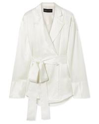 Michael Lo Sordo Double Breasted Silk Satin Shirt