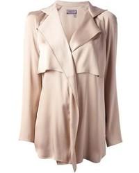 Beige Silk Long Sleeve Blouse