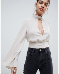 ASOS DESIGN Plunge Open Back Tie Long Sleeve Top