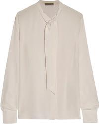 Pussy bow silk crepe de chine blouse cream medium 1159673