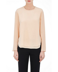 Scalloped neck silk blouse medium 1159666