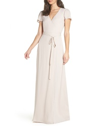Beige Silk Maxi Dress