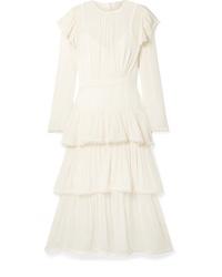 Zimmermann Ninety Six Tiered Ribbed Silk Tte Midi Dress
