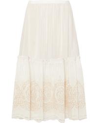 Stella McCartney Tiered Broderie Anglaise Silk Midi Skirt