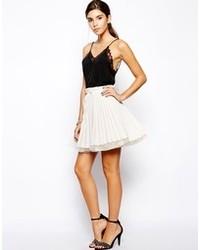 Beige Silk Mini Skirt