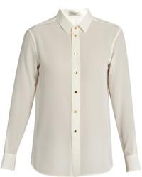 Point collar silk crepe de chine shirt medium 1156739
