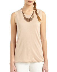 BCBGMAXAZRIA Silk Cashmere Necklace Detail Top