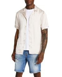 River Island Revere Short Sleeve Satin Button Up Shirt