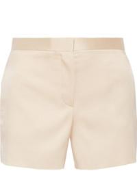 Shors silk and wool blend shantung shorts beige medium 673893
