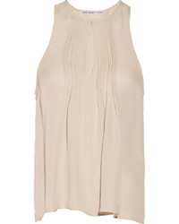 Beige Silk Sleeveless Top