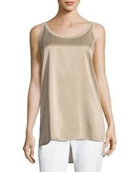 Lafayette 148 New York Chain Trim Silk Linen Tank Top