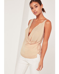 Missguided Satin Wrap Cami Nude
