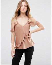 Asos Satin Cold Shoulder Cami Top With Ruffle