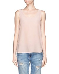 Nobrand Silk Crepe Front Jersey Sleeveless Top