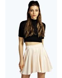 Boohoo Tia Wet Look Skater Skirt