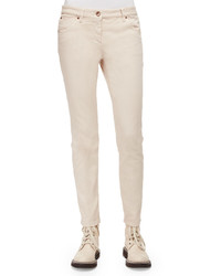 Brunello Cucinelli Five Pocket Skinny Jeans Vanilla