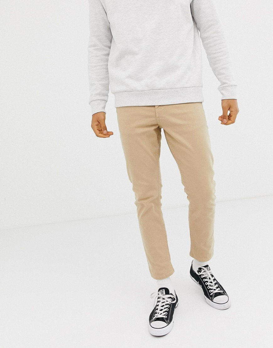 New Look Cropped Slim Jeans In Stone