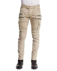 Balmain Slim Cotton Denim Biker Pants Beige