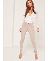 Missguided Faux Suede Skinny Trousers Nude