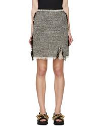 Lanvin Black Ecru Tweed Skirt