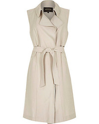 River Island Beige Sleeveless Trench Jacket