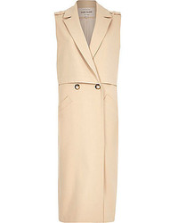 River Island Beige Structured Sleeveless Trench Jacket