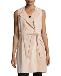 Belted suede trench vest blush medium 383088