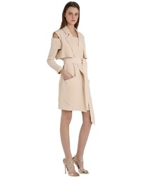 Brushed Silk Sleeveless Trench Coat