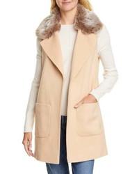 Helene Berman Faux Fur Collar Wool Cashmere Blend Vest