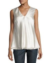 Sleeveless layered satin top cream medium 1155121