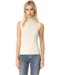 Variegated rib sleeveless turtleneck sweater medium 751924