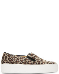 Charlotte Olympia Tan Leopard Cool Cats Slip On Sneakers