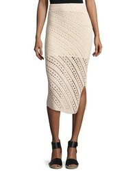 Miller crochet side slit pencil skirt cream medium 693714