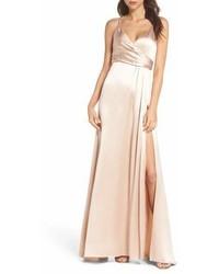 Jill Stuart Jill Faux Wrap Satin Gown