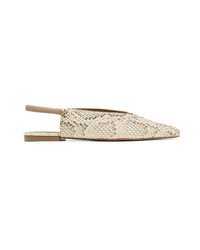 Mercedes Castillo Evetta Snake Effect Leather Slingback Flats