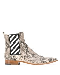 Off-White Snakeskin Effect Ankle Boots