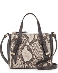 Foley + Corinna Bandeau Medium Snake Embossed Leather Satchel Bag Diamond Snakecombo